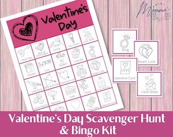 Valentine's Day Bingo Kit Printable | Kid's Valentine's Day Scavenger Hunt Game Digital Download | Valentine Party Classroom Activity