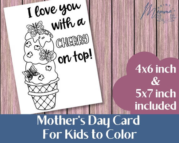 Mother's Day Coloring Card printable  Kids Coloring DIY