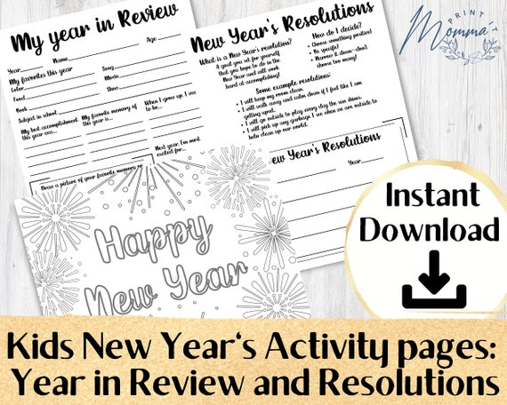 New Year's Kids Activity Pages Printable  My Year In