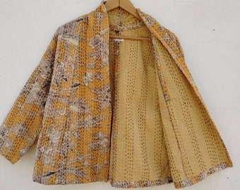 Indian HandMade Kantha Quilt Short Jacket Kimono Women Wear Boho Yellow Color Front Open Quilted Jacket