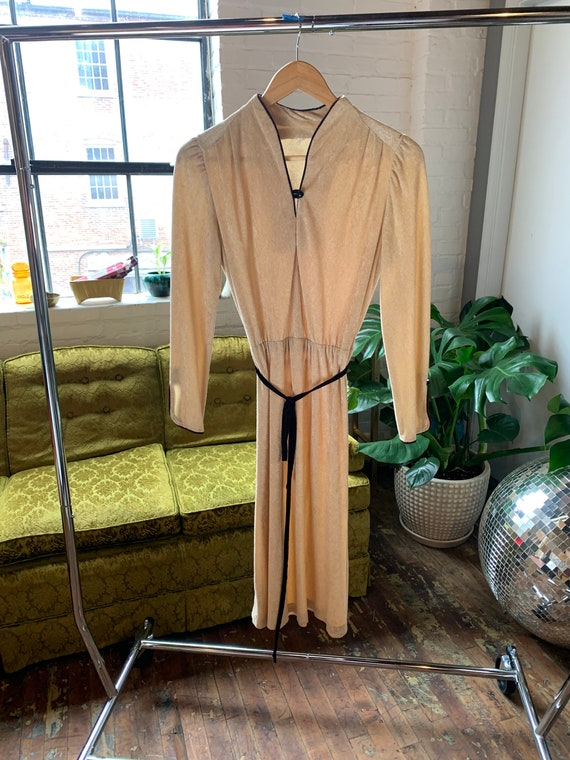 70s Vintage Gold Terrycloth Dress