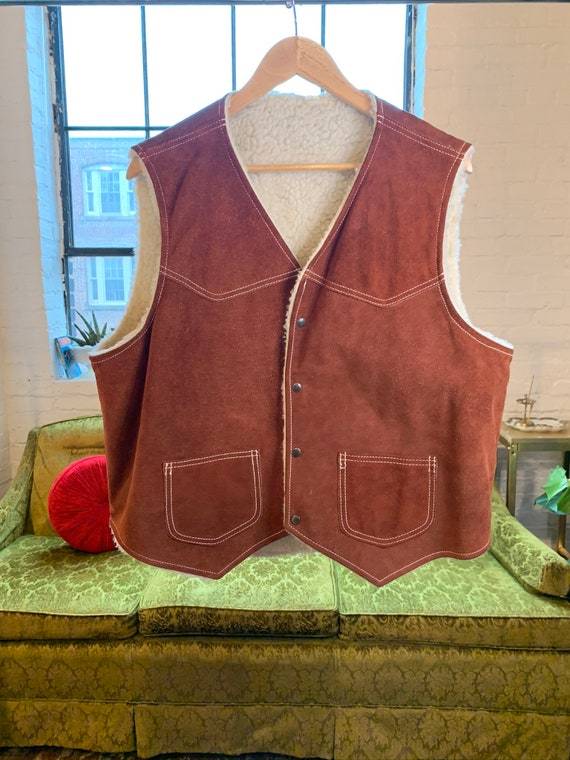 70s Suede Shearling Vest