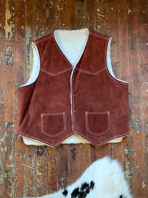 70s Suede Shearling Vest - image 3