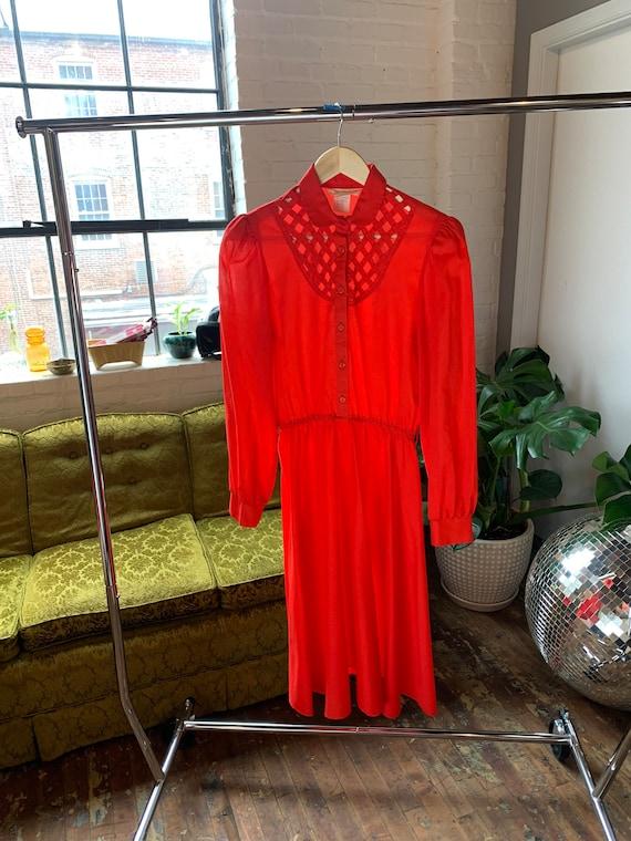 70s Vintage Lattice Yoke Shirt Dress
