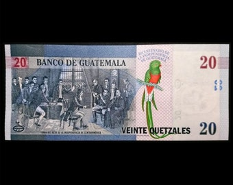 20 quetzales Guatemala 2021 commemorative 200th anniverary of the independence banknote UNC condition