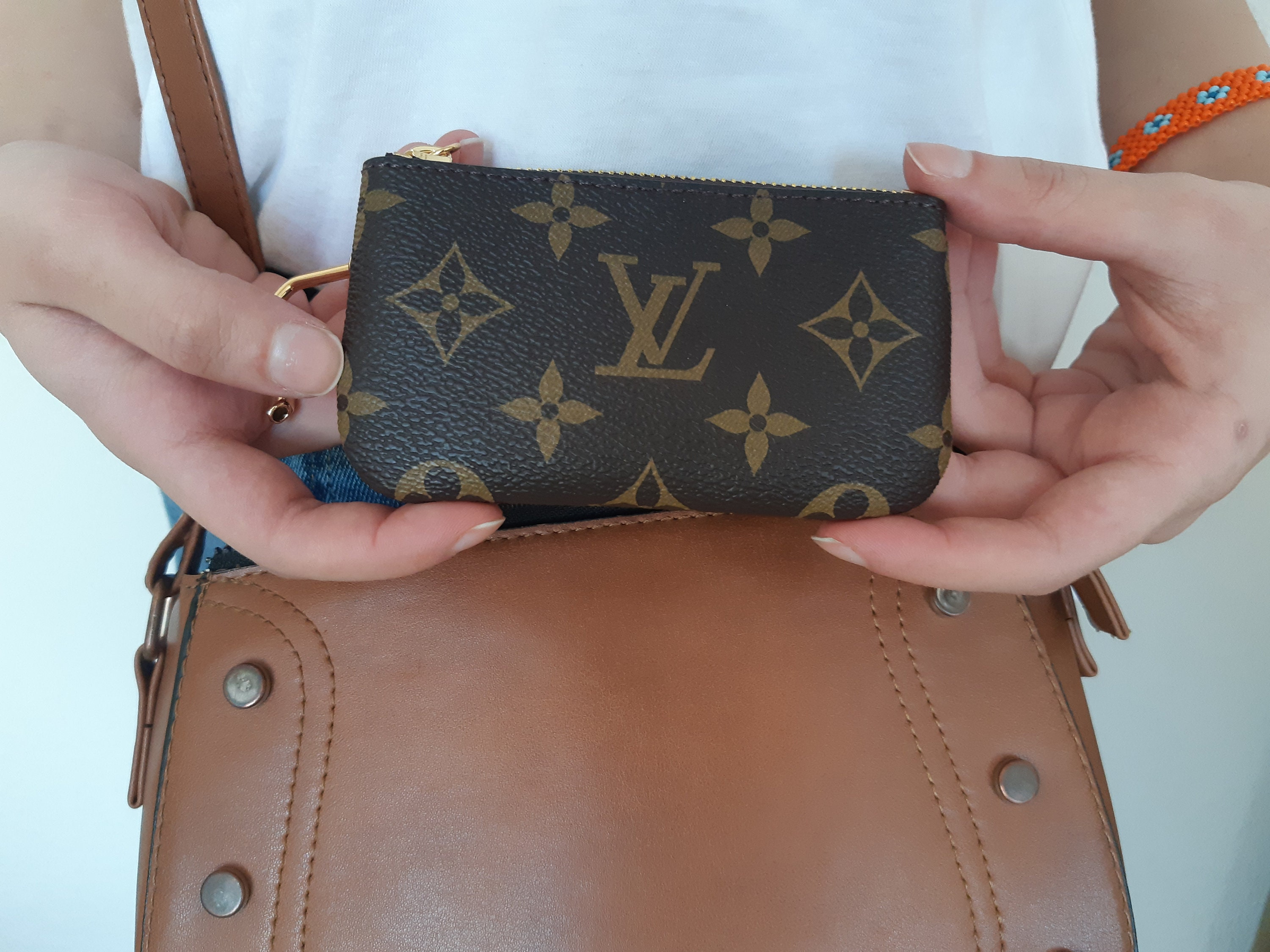 lV, Repurposed Authentic Leather Key Pouch , Keychain purse ,Coin bag ,Coin Purse , Women Girlfriend Gift