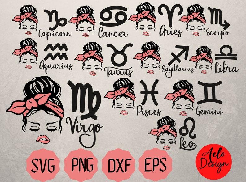 Sternzeichen Bundle Svg-Horoskop-Messy Bun Svg-Lips-Bow ...
