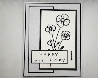 Birthday Card, Happy birthday card, Flower card, Handmade greeting card, Embossed card, Birthday, Flowers, black and white, blank card