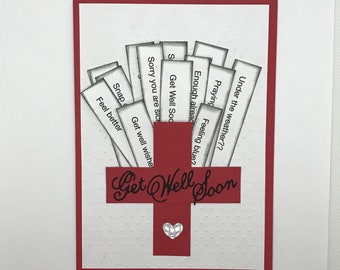 Get well soon cards, Get well red cross card, Thinking of you card, Feel better card, Handmade greeting card, Embossed cards, Get well