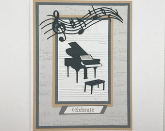 Music Card, Piano card, Card for piano player, Happy birthday card, Celebrate card, Embossed card, Piano recital, handmade greeting card