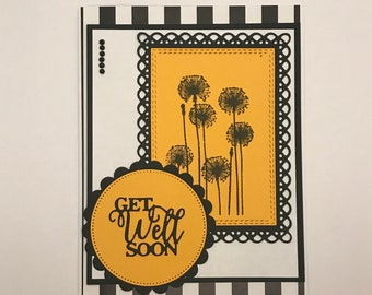 Get well flower card, Get well soon card, Flower card, Greeting card, Thinking of you card, Get well soon cards, Handmade card, Get well