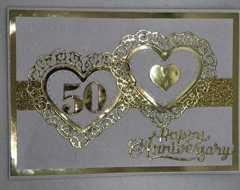50th Wedding Anniversary, Golden Anniversary card, Handmade Anniversary card, Happy Anniversary card,  Wedding Anniversary, 50th years,