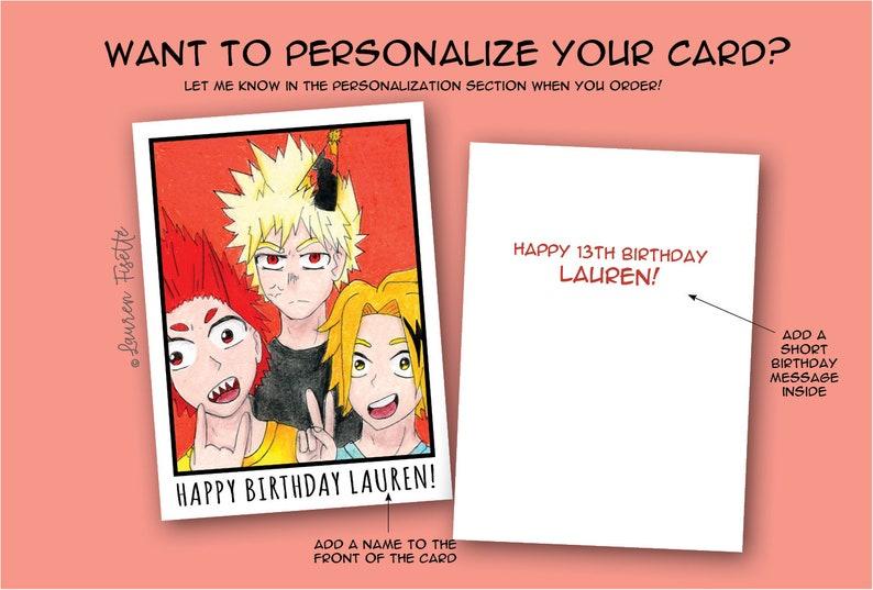 Katsuki Bakugo My Hero Academia BNHA Card Fan Art Eijiro Kirishima Happy Birthday Bakugo Anime Greeting Card Denki Kaminari