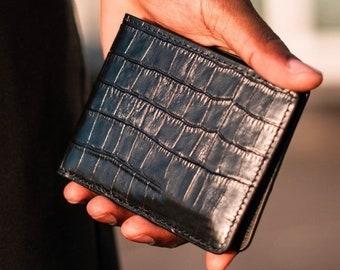 Italian Leather Crocodile Model Classic Wallet / Crocodile Wallet - Crocodile Leather Wallet - Personalized Leather Wallet