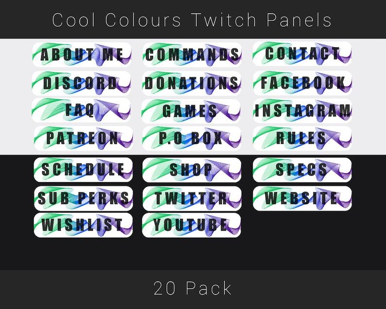 Cool Colours Wave Premade Twitch Panels Graphics Stream Bundle