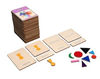 Grammar Symbol Wooden Nomenclature Cards | Parts of a Speech | Montessori Language Materials | Three Part Cards