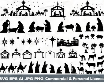 Nativity Silhouette Bundle Svg, Oh Holy Night svg, Silent night svg, Nativity Scene svg, Nativity set svg, O Holy Night svg, Religious Svg
