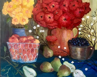 Fruit and Flowers Fine Art Original Painting Poppies and Pears Debbie Ritter