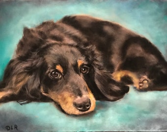 Long Haired Dachshund Painting Animal Art Dog Decor Small Dog Pastel Debbie Ritter