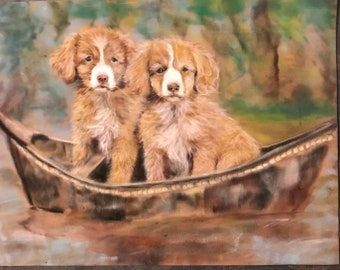 Dogs in a Boat Original Pastel Painting Cute Puppy Art Debbie Ritter