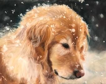 Golden Retriever Dog Painting Original Pastel Art Debbie Ritter