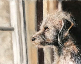 Dog Looking Out Window Painting Original Art Animal Decor Debbie Ritter
