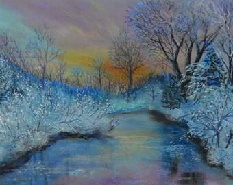 Winter Sunset Original Pastel Painting Debbie Ritter Art