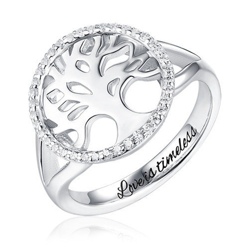 Custom Family Tree Of Life Engraved Ring in Sterling Silver 925 Perfect Gift For Mom Engraved Family Tree Ring For Mom Family Tree Ring