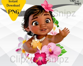 Baby Moana PNG Clipart Instant Digital Download for iron on or print