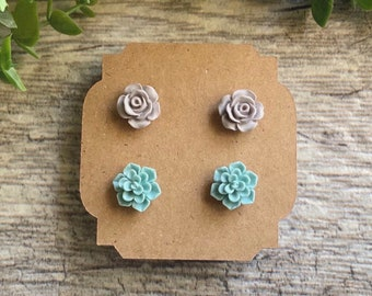 Matte Mint and Matte Grey Resin fun Floral succulent and rose everyday stud Earrings 2 pair set with Silver and Gold Plated earring Post.