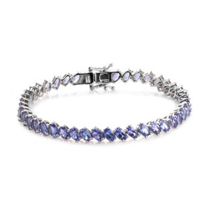 6.50 In Tanzanite Platinum Over Sterling Silver Bracelet TGW 8.25 cts Bracelet For Women Tanzanite Jewelry Gift For Her