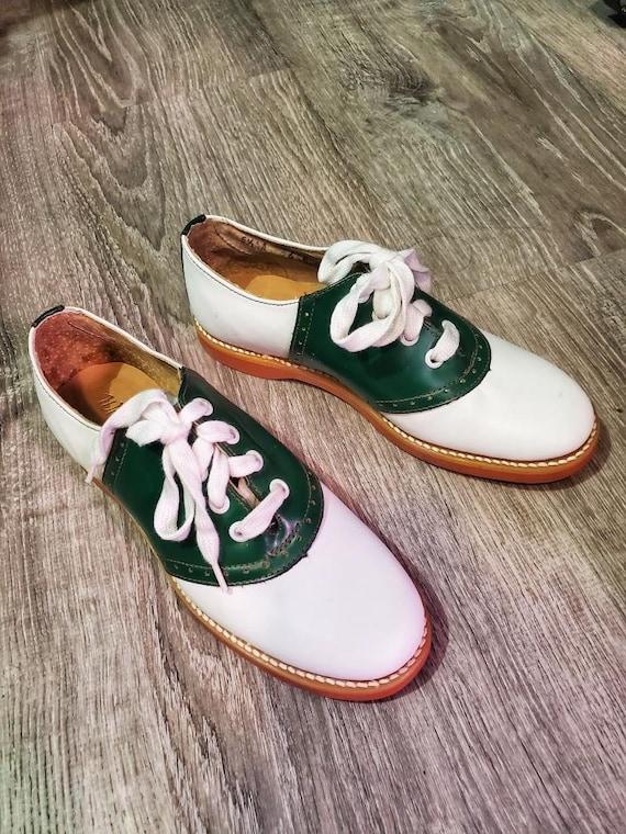 Green \u0026 White Saddle Shoes | Etsy