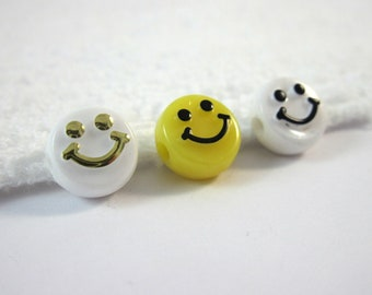 Hole 3MM 16MM Smiley Face Expression Ceramic Bead Bracelet Woven DIY Beaded,for Bracelet Necklace Earrings Jewelry Making,Handmade Gift