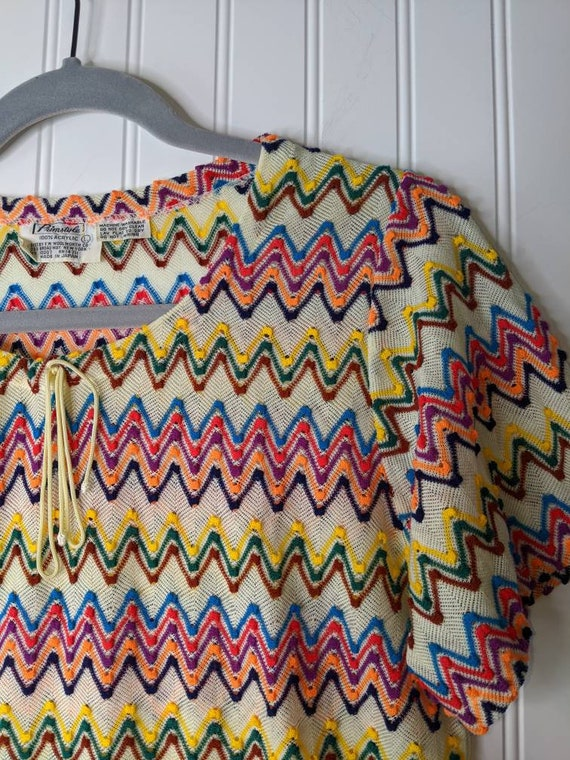 Vintage 1970's Woolworth Primstyle colorful Top