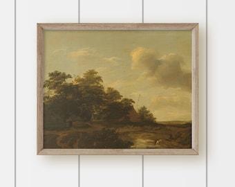 Vintage Autumn Landscape Oil Painting  Print - Farm Landscape