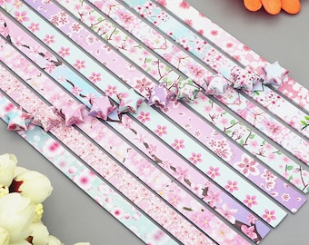 Origami Star Paper Strips, Star Folding Paper, Double Side Print, Cherry Blossom, Navy, Daysi - Pack of 120/360 Strips