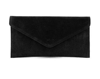 Black Sequin Lip Patch Leather Clutch Black Lip Patch Suede Clutch Lip Embroidery Leather Clutch Black Lip Applique Suede Clutch