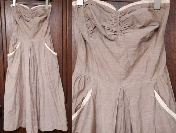 1940s Dress S Small Strapless Chambray Dress