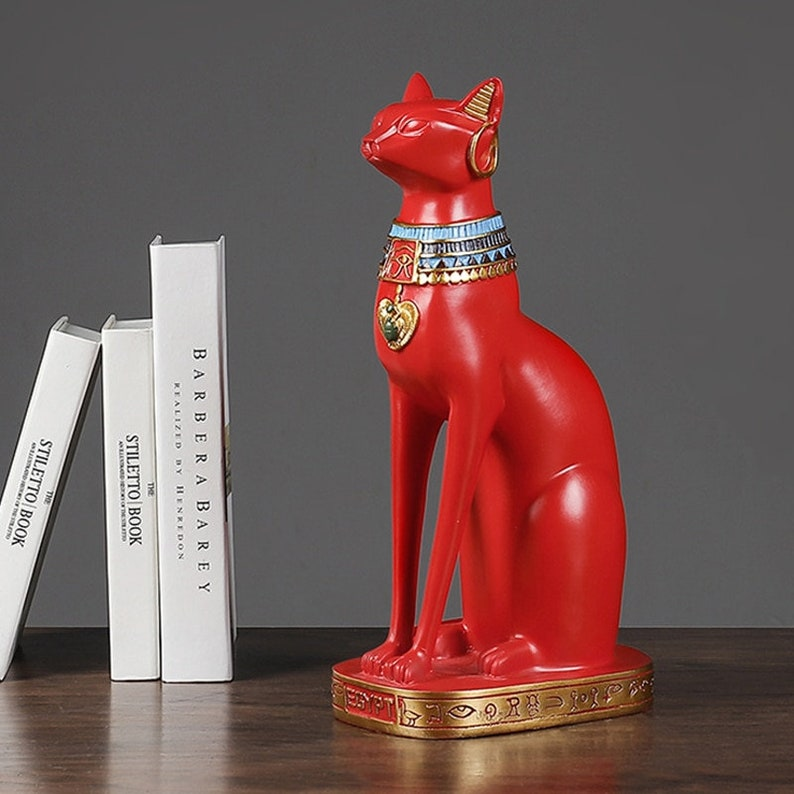 Light Luxury Style Red Egyptian Cat Statue Sculpture Home Decoration Ornaments Resin Crafts Decoration Accessories