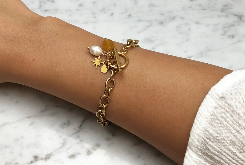 Available in gold Armtangle Beads Link bracelet with charms Gold chain Bracelet 14k gold plated Link chain