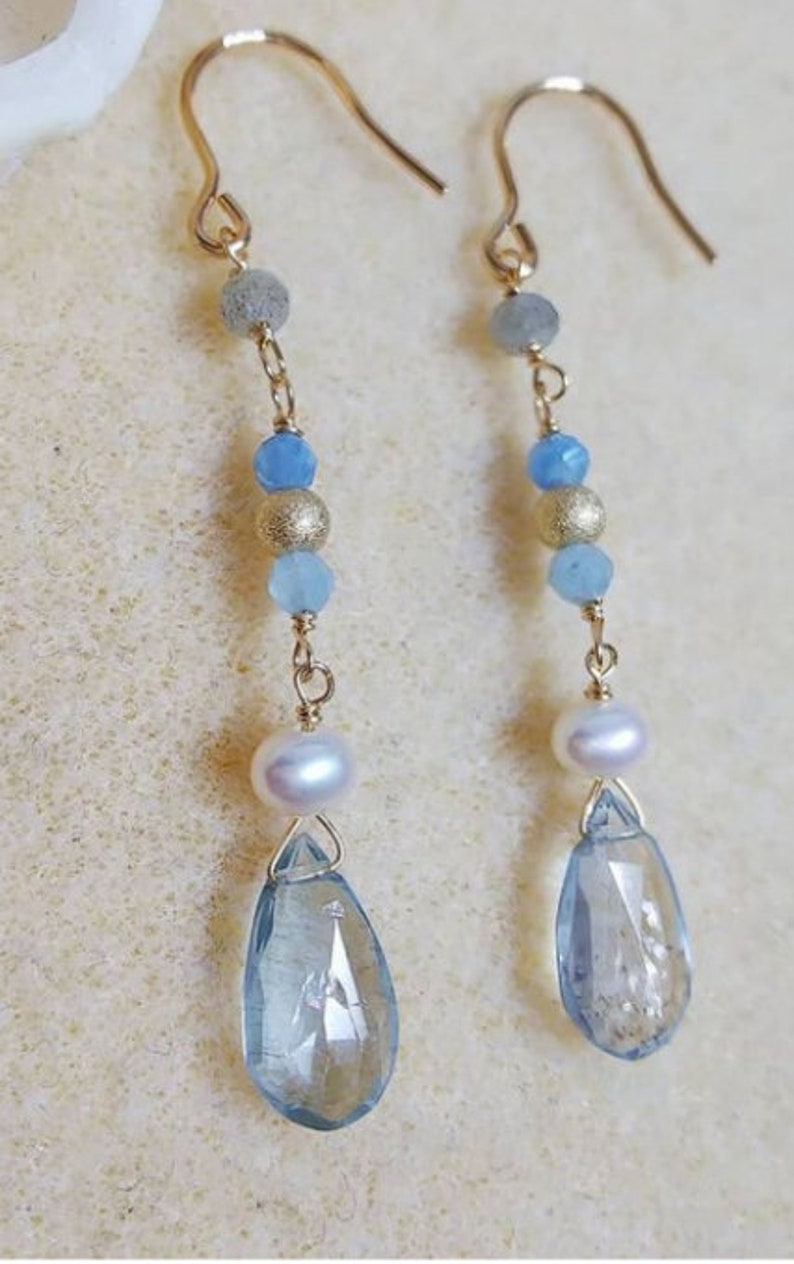 Jewelry Making FREE SHIPPING AAA Quality Blue Topaz Rose Gold Color Earrings Pearl Dangle Drop Earring Silver Sterling 925 Earrings