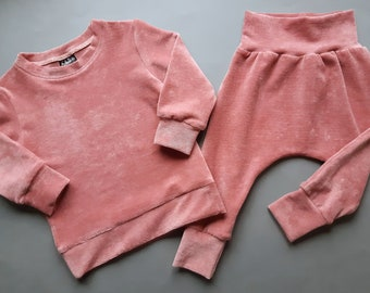 Velour sweatsuit baby girl, Toddler solid outfit, Tracksuit, Girl clothes