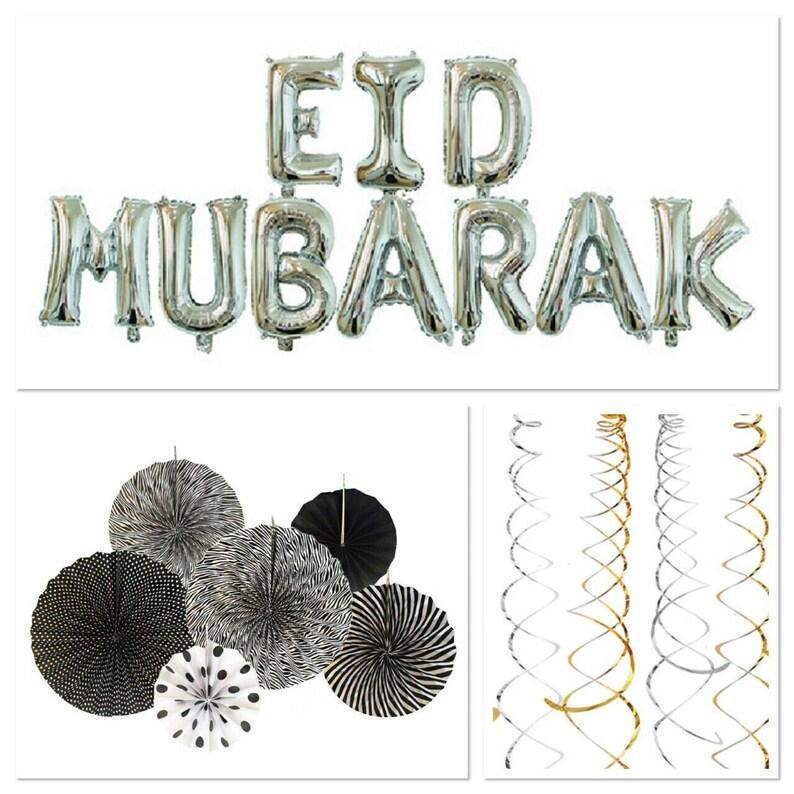 Eid Mubarak Bunting,Gold  Silver Round Lanterns /& Gold Confetti Decoration Set