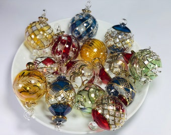 Set of five Egyptian hand blown Christmas ornaments decorative by gold 14k gold Egyptian ornaments Egyptian glass vintage glass