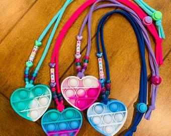 Pop-it Fidget Necklaces (Heart)