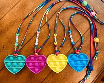 Pop-it Fidget Necklaces (Heart-Solids)