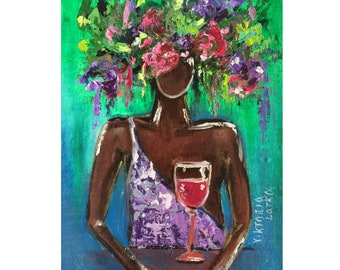 "Portrait Woman Painting Original Art Floral Girl Artwork Canvas 9 by 12 "" Figurative Oil Painting by Viktoria Latka"