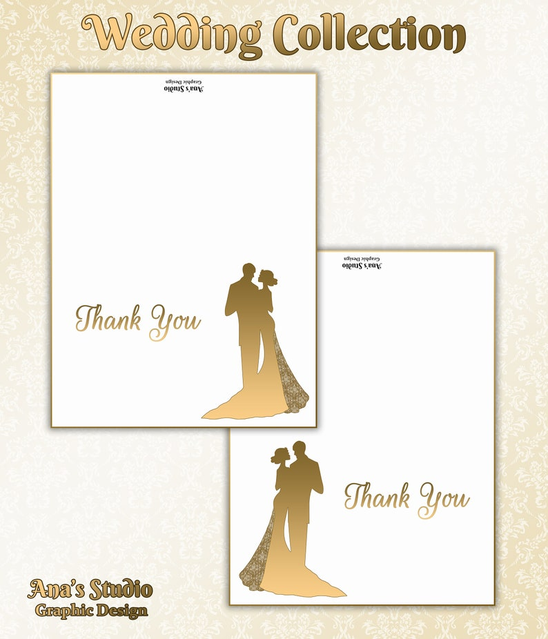 Easy Editing Beautiful Thank You Card Templates Wedding Collection Photoshop Printable.
