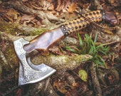 Custom Viking Axe with Rose Wood Shaft Hand Forged Carbon Steel Axe Beautiful Viking STYLE Etched axe gift