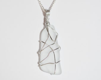 CRYSTAL || White Sea Glass Necklace | Handmade Sea Glass Necklace | Glaciale | Orkney | Scotland